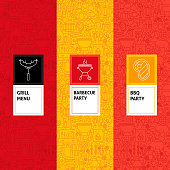 Line Barbecue Patterns Set. Vector Illustration of Logo Design. Template for Packaging with Labels.