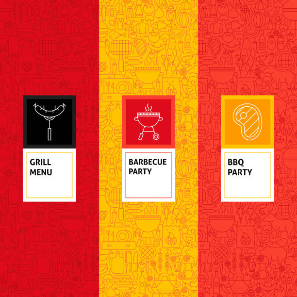 Line Barbecue Patterns Set Line Barbecue Patterns Set. Vector Illustration of Logo Design. Template for Packaging with Labels. cooking designs stock illustrations