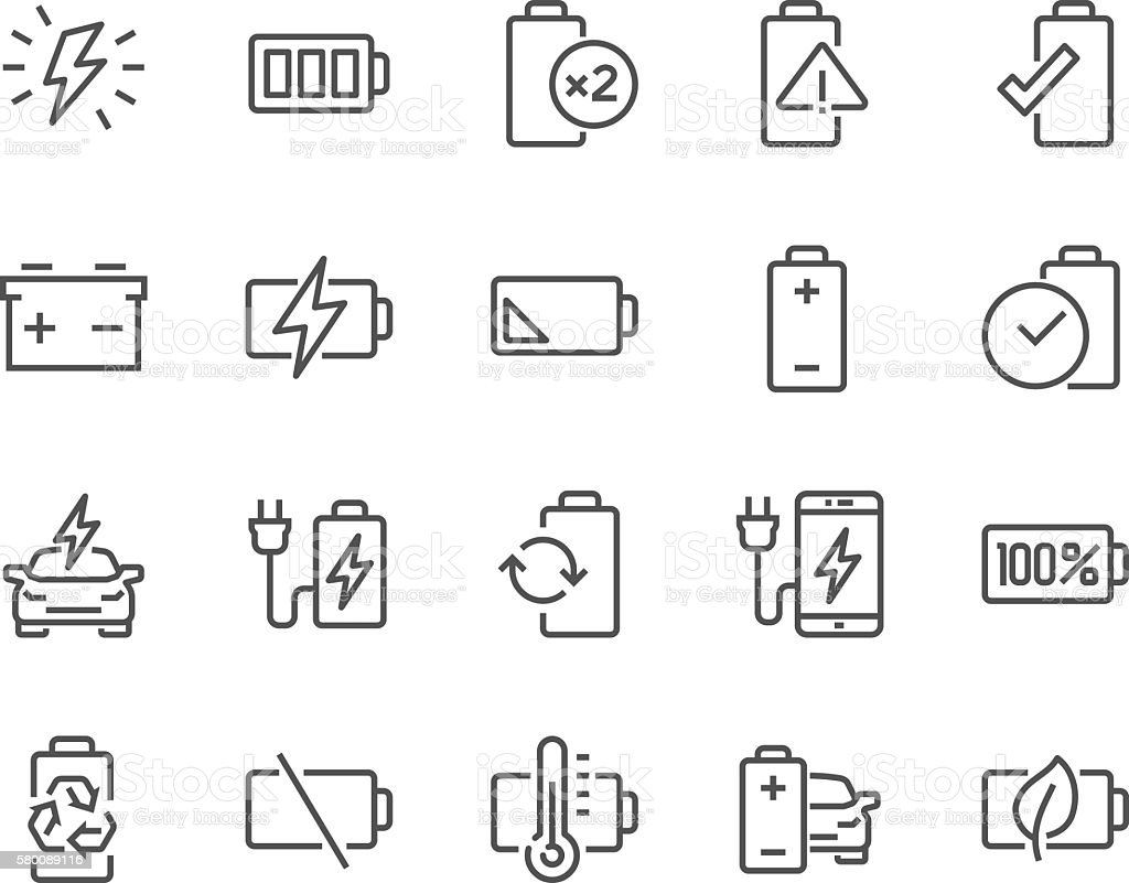 Line Battery Icons vector art illustration