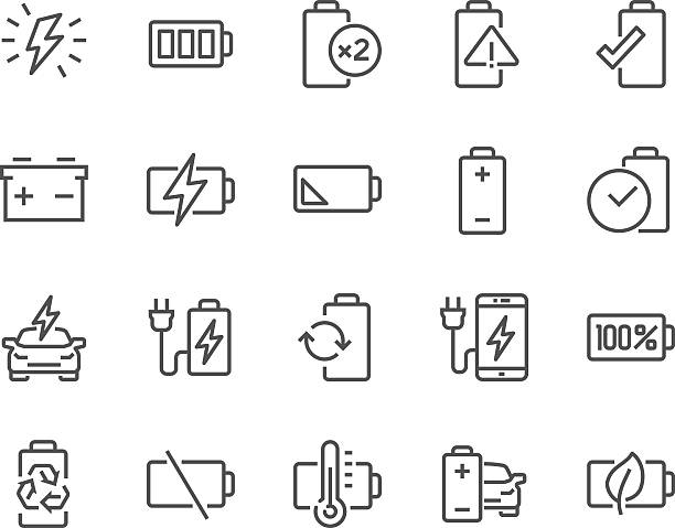 Line Battery Icons Simple Set of Batteries Related Vector Line Icons. Contains such Icons as Car Charge Station, Recycle, Phone Charging, Battery Life Time and more. Editable Stroke. 48x48 Pixel Perfect. lithium stock illustrations