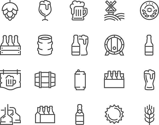 Line Beer Icons Simple Set of Beer Related Vector Line Icons. Contains such Icons as Barrel, Six-pack, Keg, Signboard, Mug, and more. Editable Stroke. 48x48 Pixel Perfect. beer stock illustrations