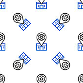istock Line Bicycle repair service icon isolated seamless pattern on white background. Colorful outline concept. Vector 1316111218