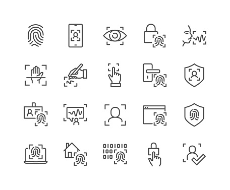 Simple Set of Biometric Related Vector Line Icons.  Contains such Icons as Voice Recognition, Fingerprint, Door Lock and more. Editable Stroke. 48x48 Pixel Perfect.