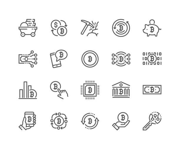 stockillustraties, clipart, cartoons en iconen met lijn bitcoin pictogrammen - bitcoin