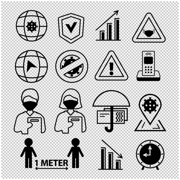 Line black icons on transparent background. Business support during the coronavirus epidemic. Remote work tips. Paycheck protection program. Keep distance 1 meter Line black icons on transparent background. Business support during the coronavirus epidemic. Remote work tips. Paycheck protection program. Keep distance 1 meter covid-19 CARES Act stock illustrations