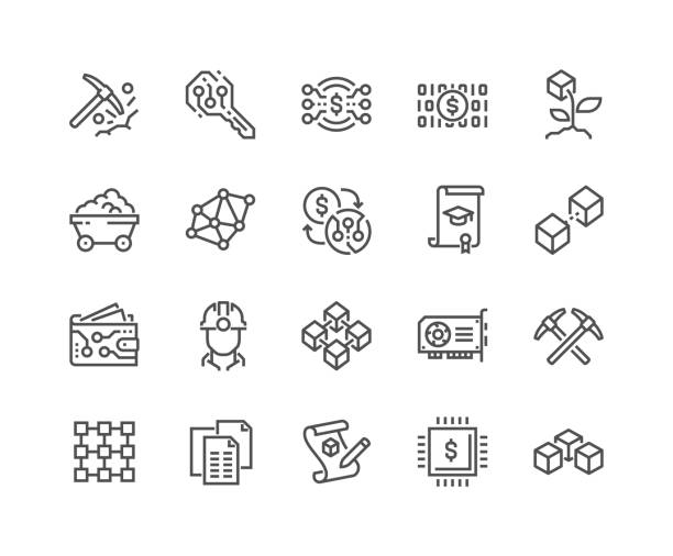 bildbanksillustrationer, clip art samt tecknat material och ikoner med line blockchain ikoner - mining