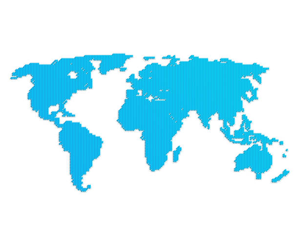 Linie blaue Weltkarte – Vektorgrafik