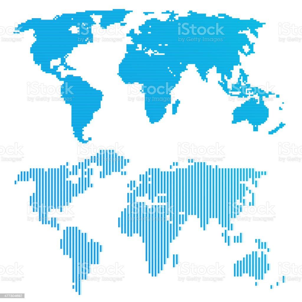 Line blue world map vector art illustration