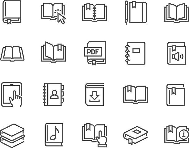 line book icons - book clipart stock illustrations