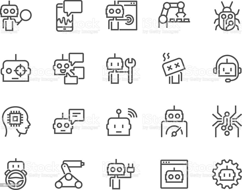Line Bot Icons vector art illustration