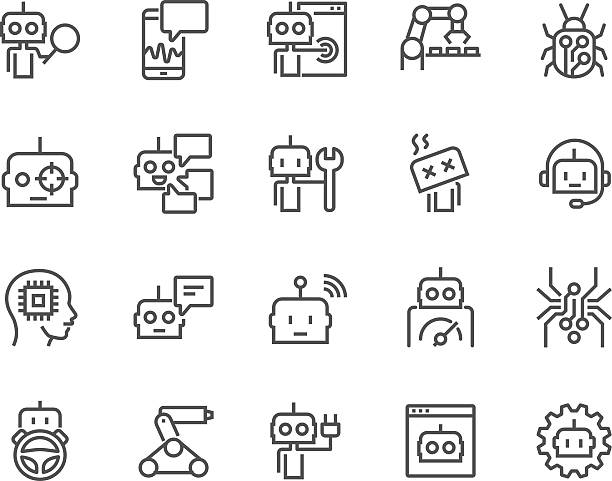 line bot icons - robotics stock illustrations, clip art, cartoons, & icons
