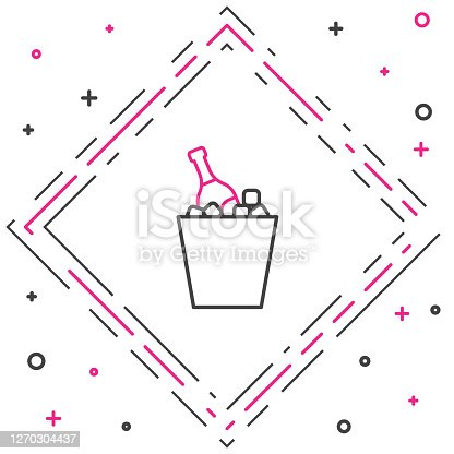 istock Line Bottle of champagne in an ice bucket icon isolated on white background. Colorful outline concept. Vector Illustration 1270304437