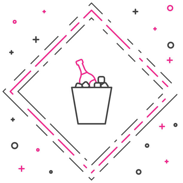 Line Bottle of champagne in an ice bucket icon isolated on white background. Colorful outline concept. Vector Illustration Line Bottle of champagne in an ice bucket icon isolated on white background. Colorful outline concept. Vector Illustration alcohol drink clipart stock illustrations