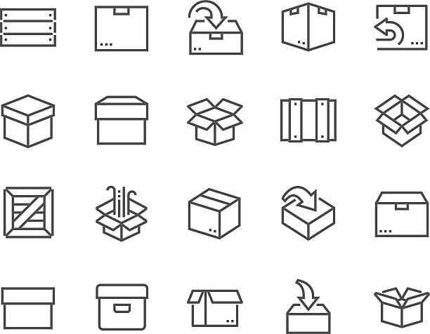 line box icons - holzkiste stock-grafiken, -clipart, -cartoons und -symbole