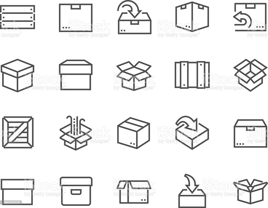 Line Box Icons vector art illustration