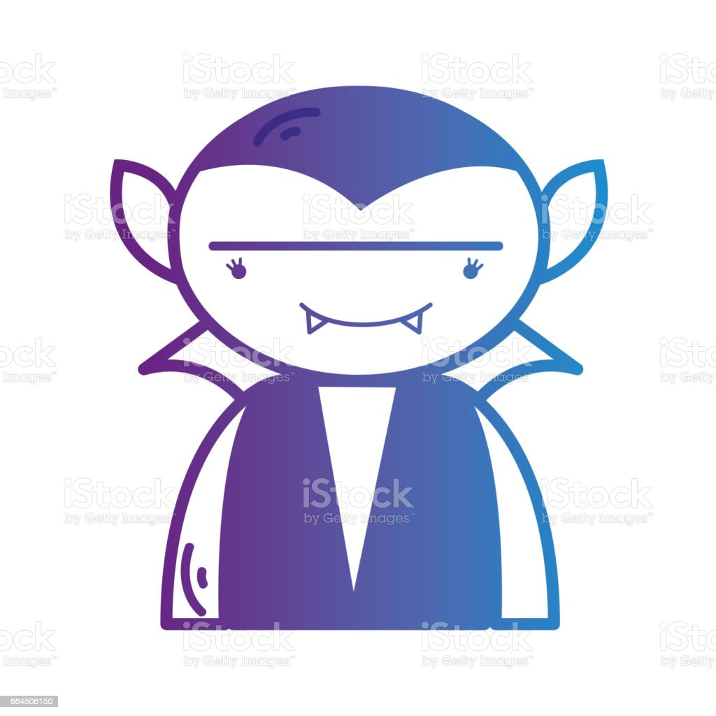 line boy vampire with teeth and cap vector art illustration