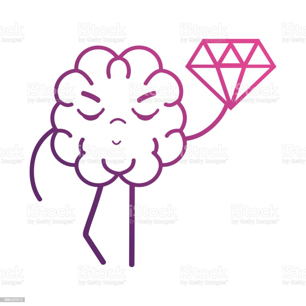 line brain kawaii with dimond icon vector art illustration