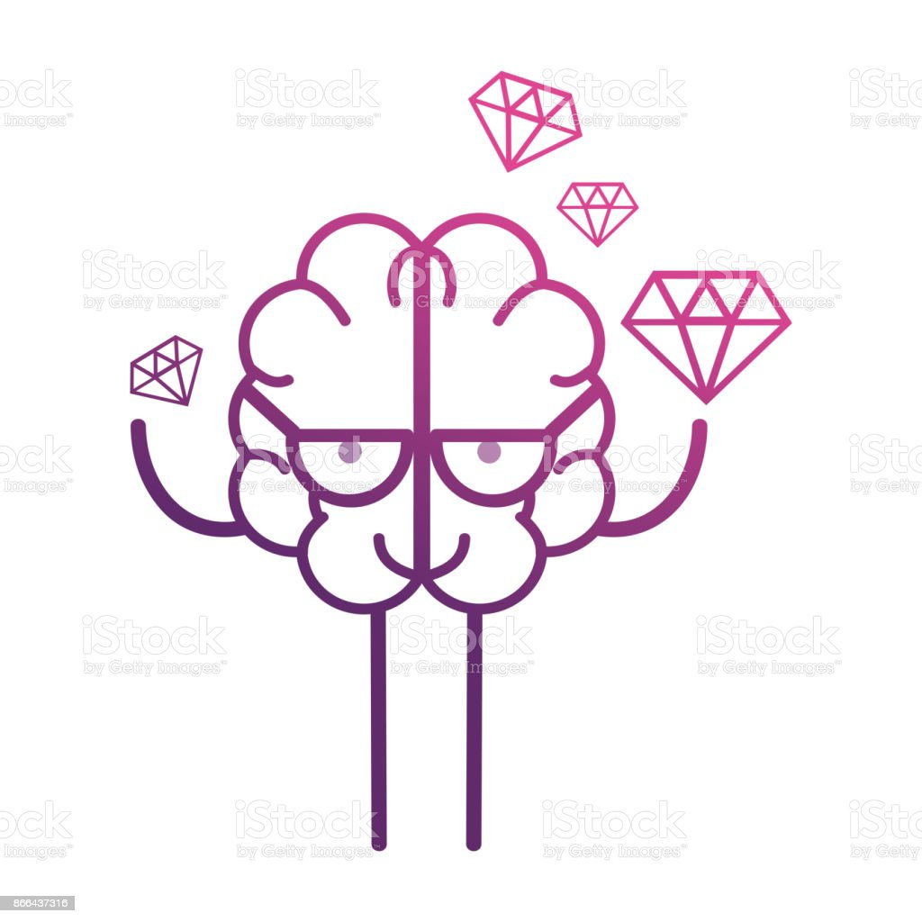 line brain kawaii with dimonds icon vector art illustration
