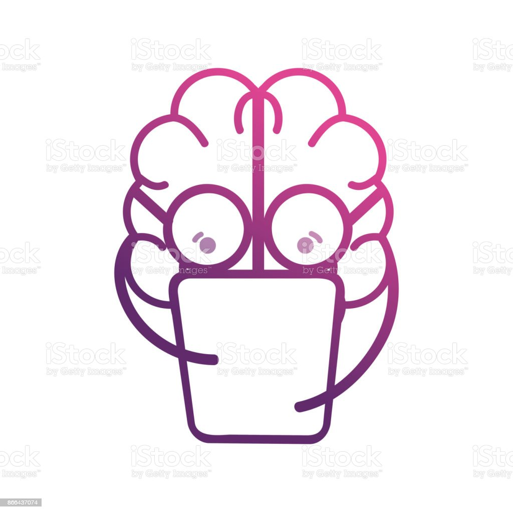 line brain kawaii with documents and glasses vector art illustration