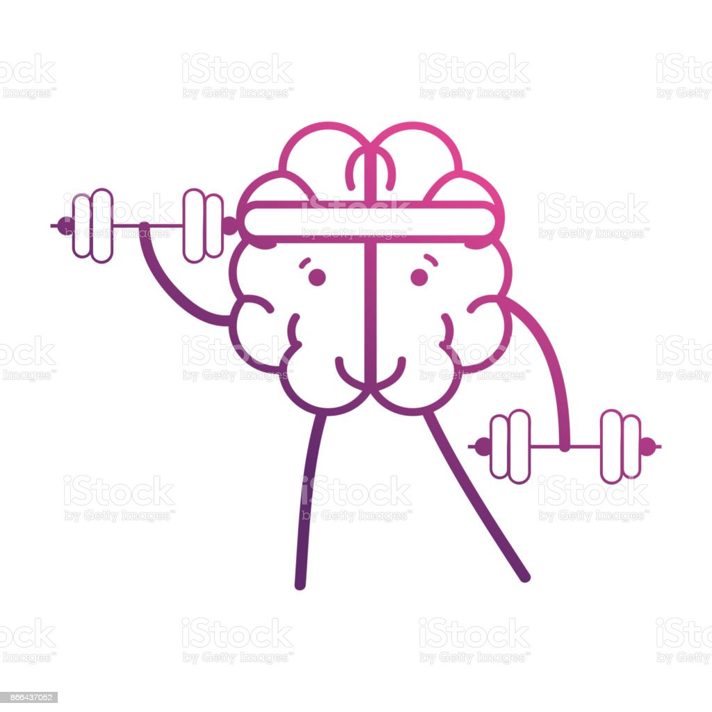 line brain kawaii with dumbbells object vector art illustration