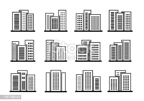 Line buildings and bank icons set, Company and office vector collection, Isolated edifice