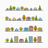 Line buildings and trees in line, 4 different styles