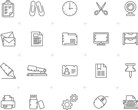 Line Business and office Equipment Icons