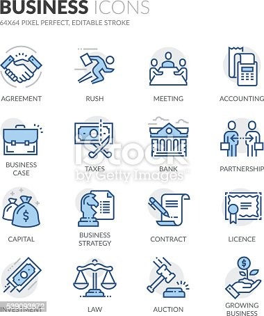 Simple Set of Business Related Color Vector Line Icons. Contains such Icons as Handshake, Business Meeting, Law, Licence and more. Editable Stroke. 64x64 Pixel Perfect.