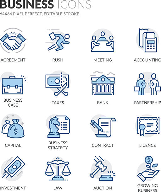 Line Business Icons Simple Set of Business Related Color Vector Line Icons. Contains such Icons as Handshake, Business Meeting, Law, Licence and more. Editable Stroke. 64x64 Pixel Perfect. taxes stock illustrations