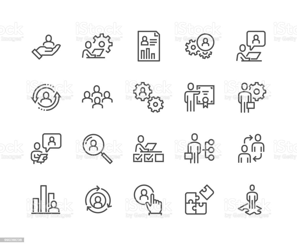 Linie Business Management Icons – Vektorgrafik