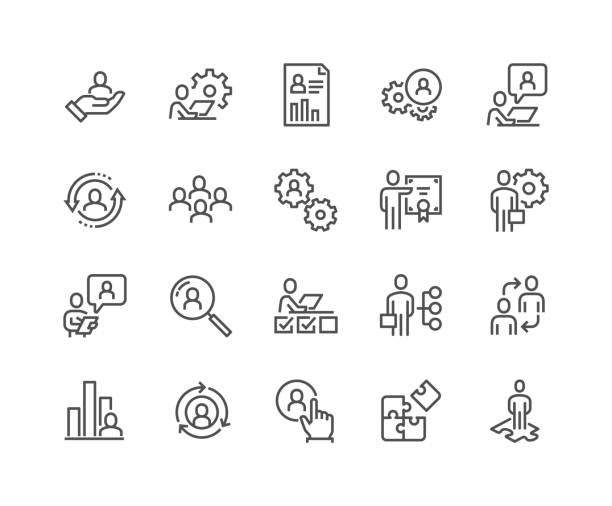 Line Business Management Icons Simple Set of Business Management Related Vector Line Icons. Contains such Icons as Inspector, Personal Quality, Employee Management and more. Editable Stroke. 48x48 Pixel Perfect. meeting stock illustrations