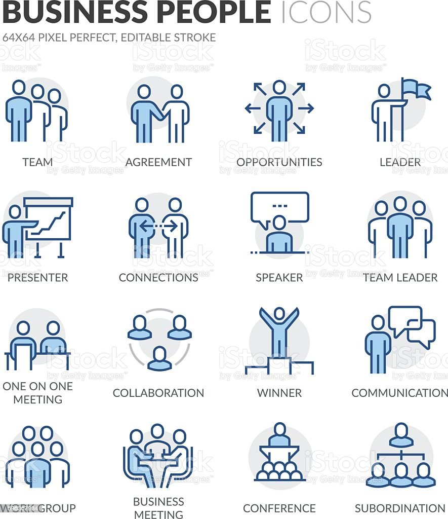 Line Business People Icons line business people icons vecteurs libres de droits et plus d'images vectorielles de accord - concepts libre de droits