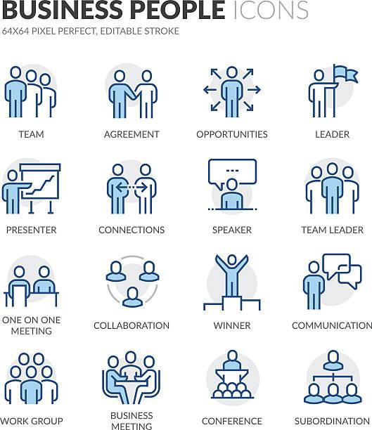 line business people icons - meeting stock-grafiken, -clipart, -cartoons und -symbole
