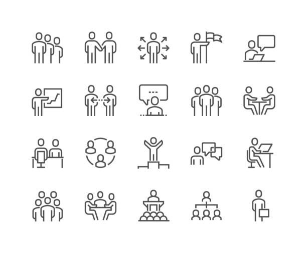 stockillustraties, clipart, cartoons en iconen met de pictogrammen van de mensen van de bedrijfs van de regel - business people on computer