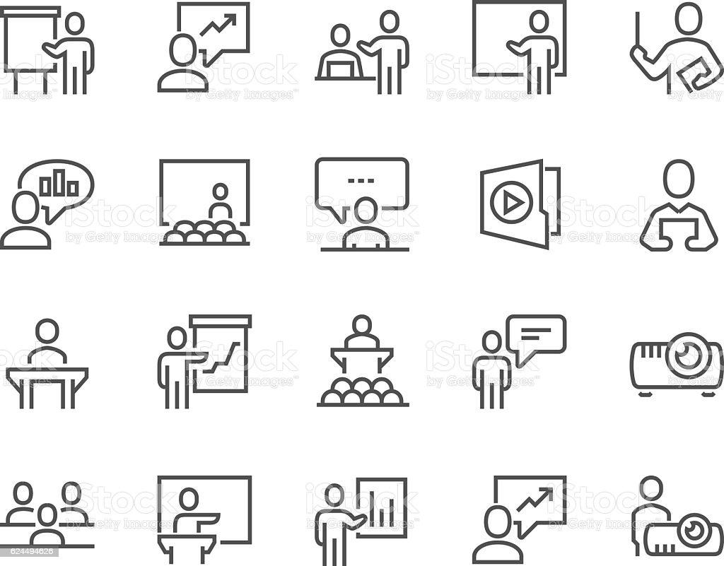 Line Business Presentation Icons - Royalty-free A usar um telefone arte vetorial