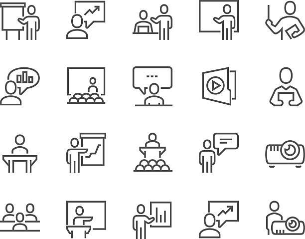 ilustrações, clipart, desenhos animados e ícones de ícones de apresentação de negócios da linha - professor