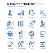 Simple Set of Business Strategy Related Vector Line Icons. \nContains such Icons as Action List, Research, Solution and more.\nEditable Stroke. 64x64 Pixel Perfect.