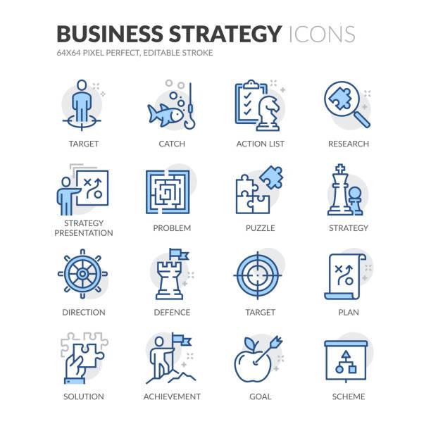 illustrazioni stock, clip art, cartoni animati e icone di tendenza di icone della strategia aziendale line - near