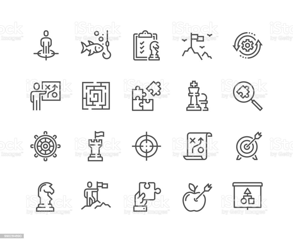 Line Business Strategy Icons - Royalty-free Acariciar arte vetorial