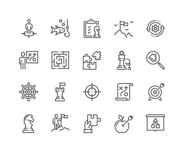line business strategy icons - białoruś stock illustrations