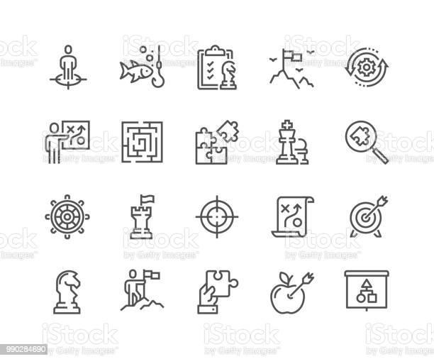 Line Business Strategy Icons - Arte vetorial de stock e mais imagens de Acariciar