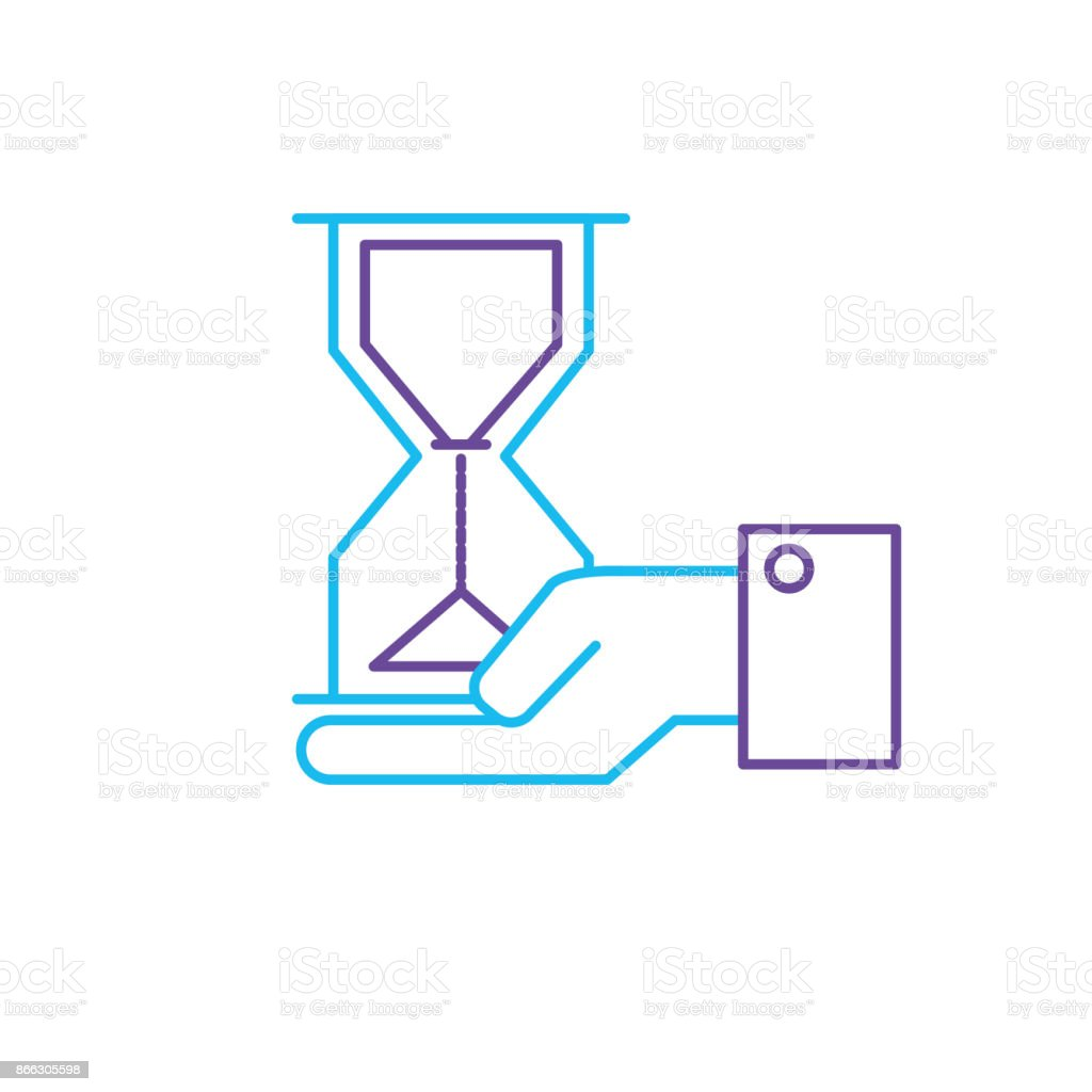 line businessman with housglass object in the palm hand vector art illustration