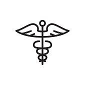 line caduceus icon on white background