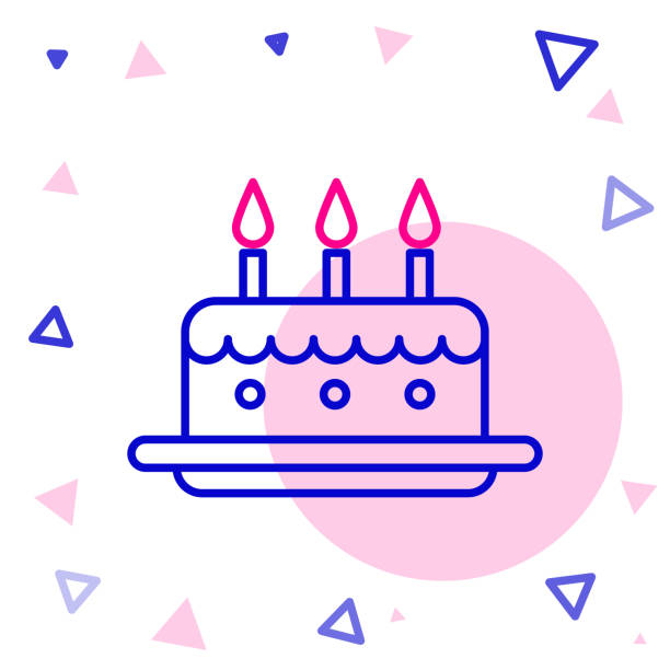 Line Cake with burning candles icon isolated on white background. Happy Birthday. Colorful outline concept. Vector Illustration Line Cake with burning candles icon isolated on white background. Happy Birthday. Colorful outline concept. Vector Illustration anniversary symbols stock illustrations