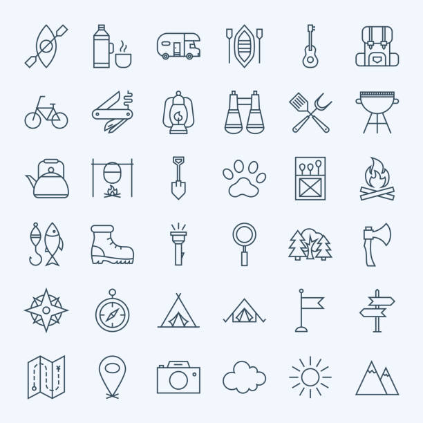 line camping icons - rybactwo stock illustrations