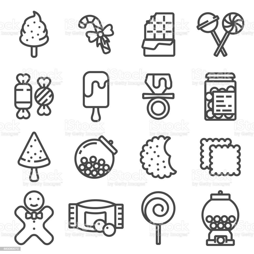 Ligne Candy icon set vector - Illustration vectorielle