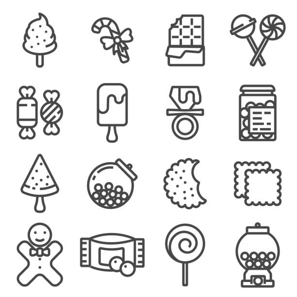 Line Candy vector icon set Line Candy vector icon set on white background candy icons stock illustrations