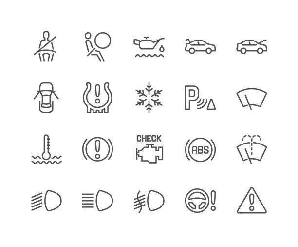 Line Car Dashboard Icons Simple Set of Car Dashboard Related Vector Line Icons. Contains such Icons as Check engine, Tire Pressure, Parking Radar and more. Editable Stroke. 48x48 Pixel Perfect. boot stock illustrations