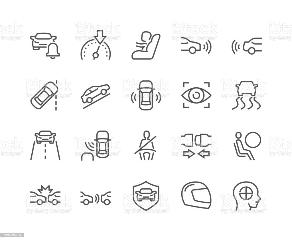 Line Car Safety Icons - Royalty-free Airbag stock vector