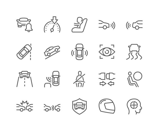 Line Car Safety Icons Simple Set of Car Safety Related Vector Line Icons. Contains such Icons as Baby Cheat, Lane Control, Front and Back Parking Sensors and more. Editable Stroke. 48x48 Pixel Perfect. passenger stock illustrations